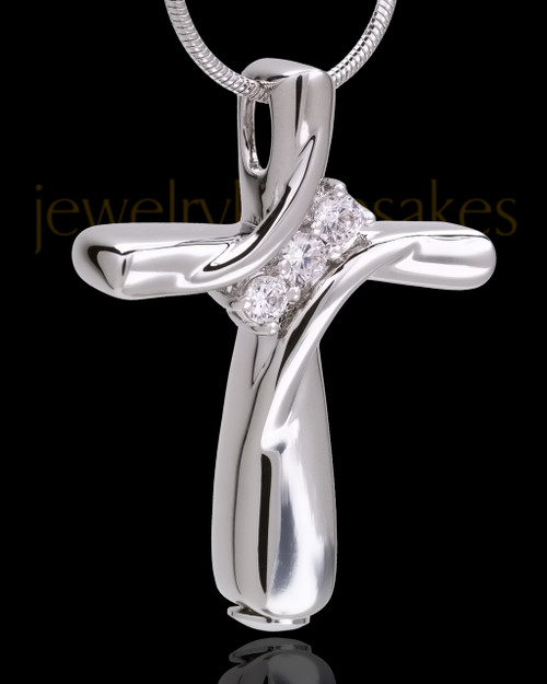 Sterling Silver Elegant Cross Cremation Pendant