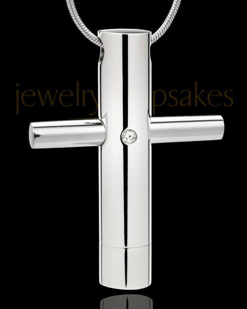 Stainless Steel Jewelry Urn Honorable Cross