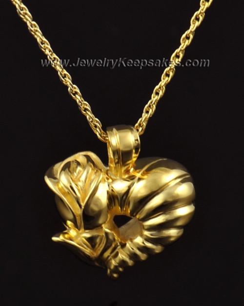 Memorial Locket 14k Gold Roses Heart Keepsake
