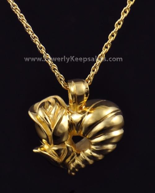 Memorial Locket Gold Plated Roses Heart Keepsake