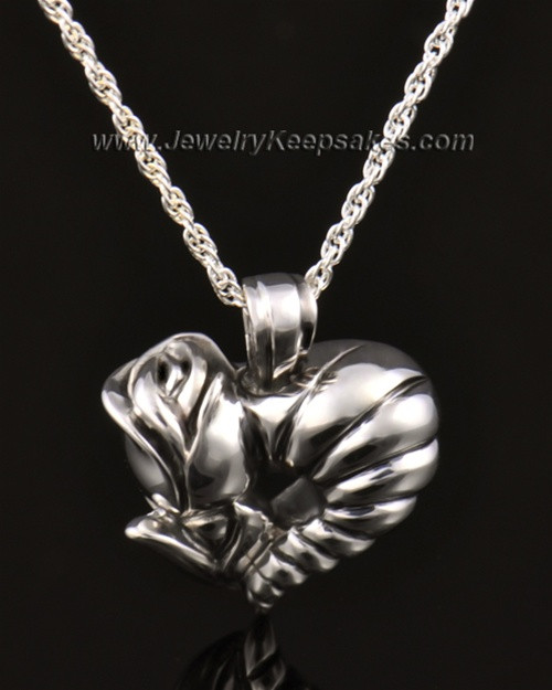 Memorial Locket 14k White Gold Roses Heart Keepsake