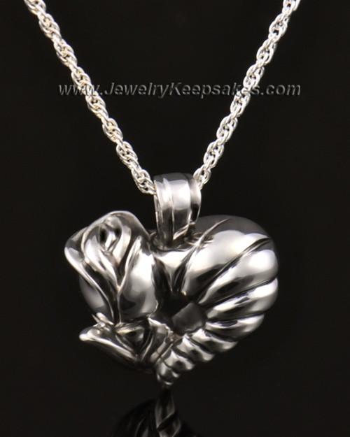 Memorial Locket 14k White Gold Roses Heart Keepsake
