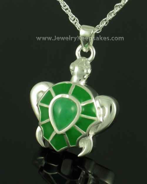 Cremation Jewelry Sterling Silver Emerald Turtle Keepsake