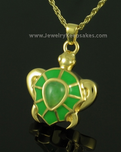 Cremation Jewelry Gold Plated Turtle Keepsake