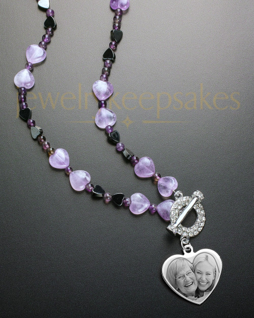 Daphne Bead Necklace in Purple with Stainless Heart Keepsake Engraved