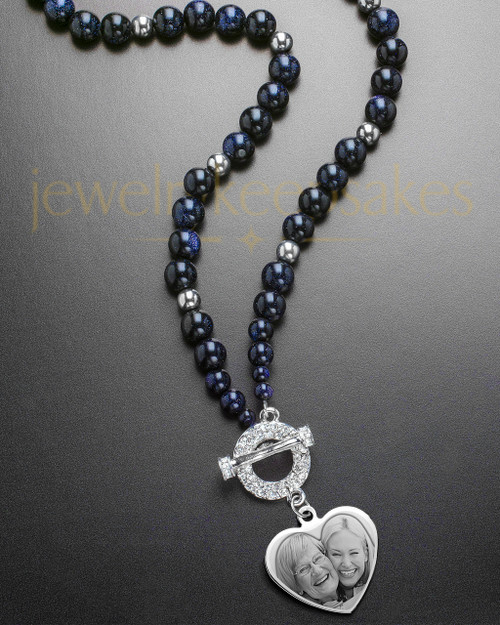 Lotus Dark Bead Necklace with Stainless Heart Engraving