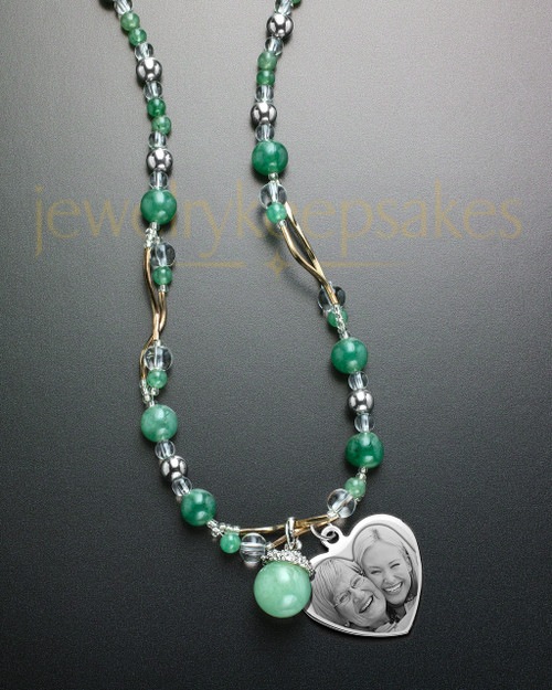 Abel Necklace Green and Picture Heart Stainless Steel