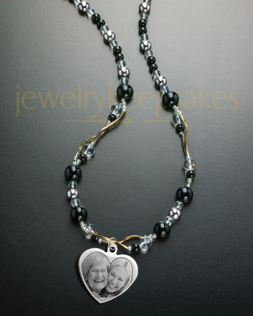 Finn Necklace Black Beaded with Stainless Steel Heart