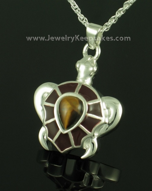 Funeral Jewelry Sterling Silver Tawny Turtle Keepsake