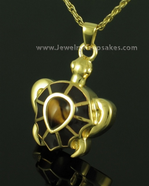 Funeral Jewelry Gold Plated Tawny Turtle Keepsake