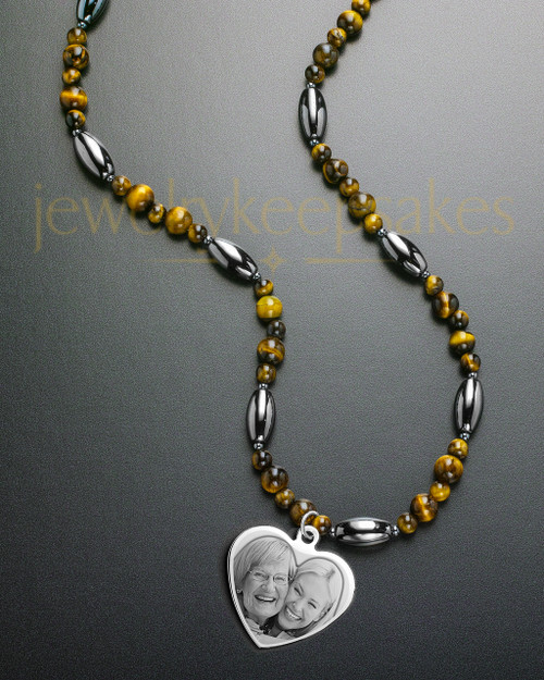 Juliet Necklace Stainless Heart and Round Amber Beads