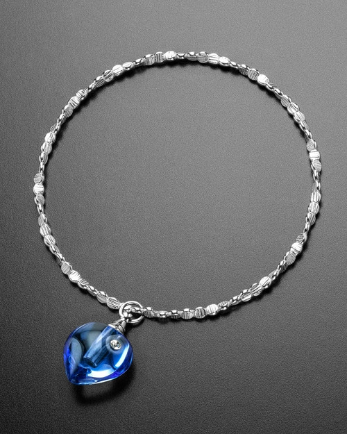 Luxury Blue Glee Heart Sterling Cremation Bracelet