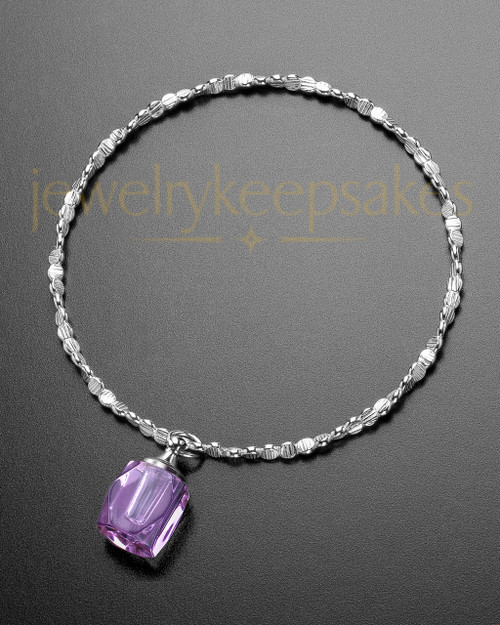 Luxury Lavender Crystal Cube Sterling Cremation Bracelet