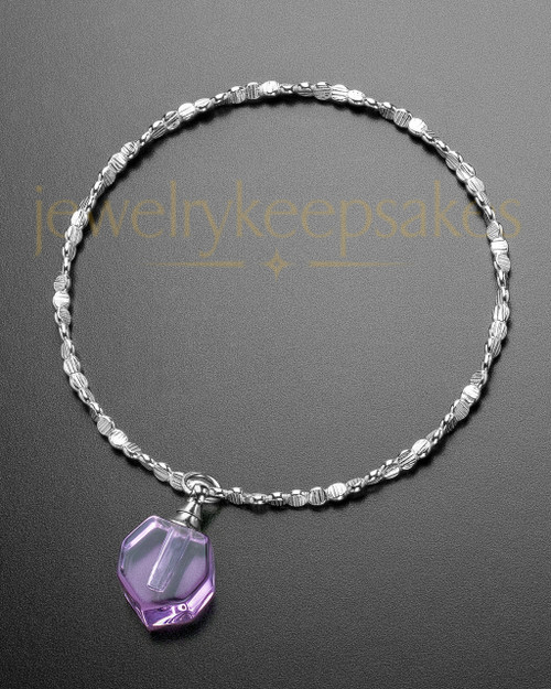 Luxury Lavender Petite Teardrop Sterling Cremation Bracelet