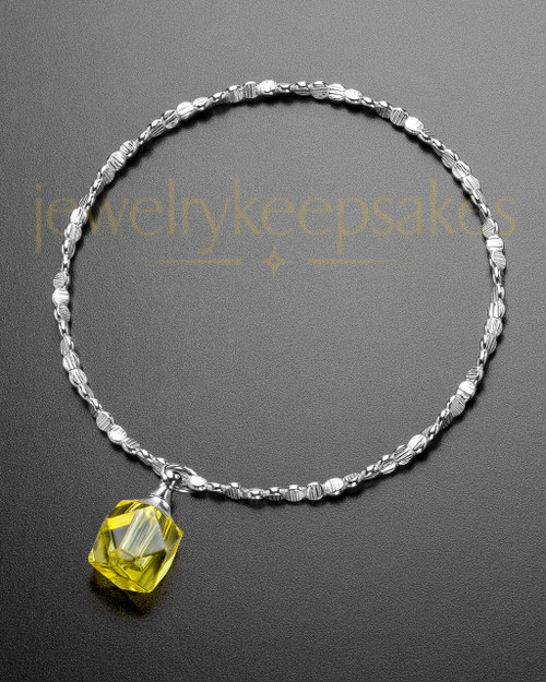 Luxury Yellow Cubes Sterling Cremation Bracelet