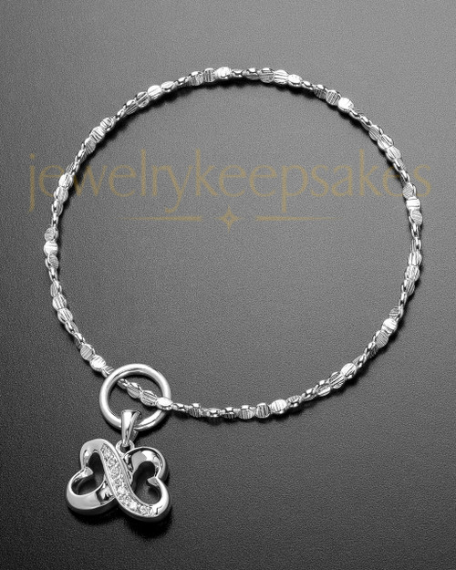 Luxury For All Time Hearts Sterling Cremation Bracelet
