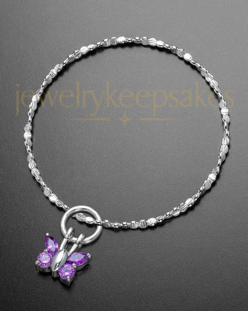 Luxury Dancing Lavender Butterfly Sterling Cremation Bracelet