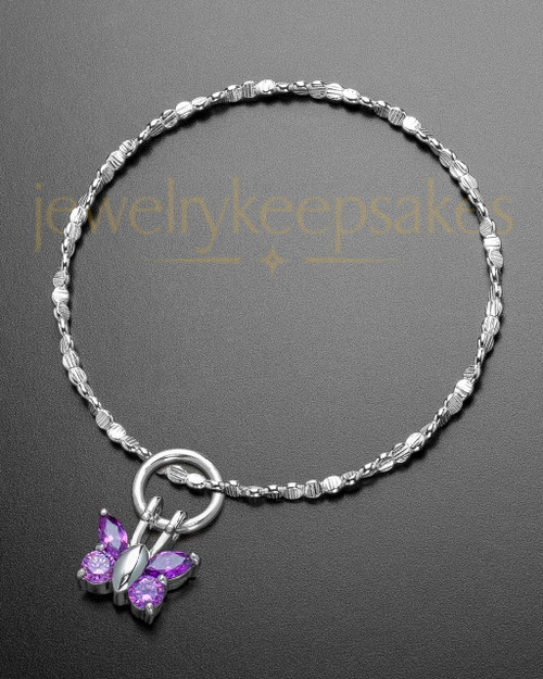 Luxury Dancing Lavender Butterfly Sterling Cremation Bracelet