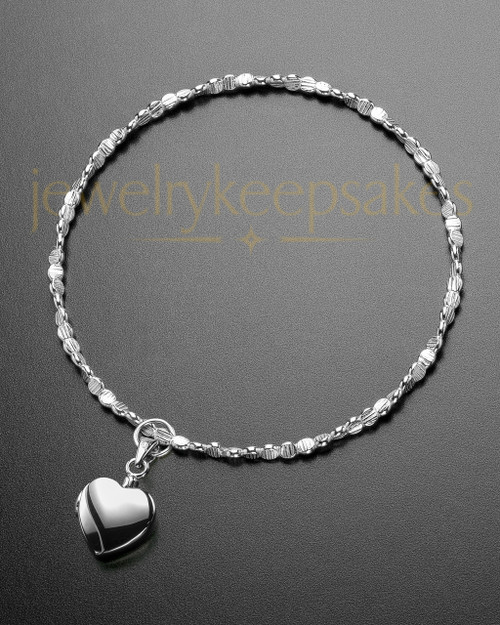 Luxury Gentle Heart Sterling Cremation Bracelet