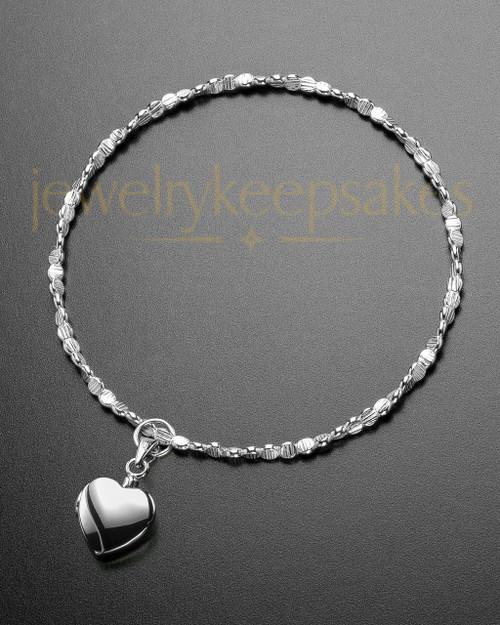 Luxury Gentle Heart Sterling Cremation Bracelet