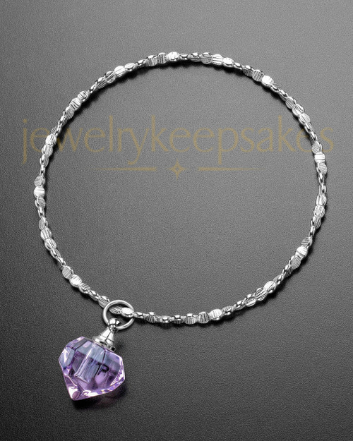 Luxury Violet Teardrop Sterling Cremation Bracelet