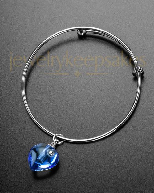 Sophisticate Blue Glee Heart Cremation Bracelet