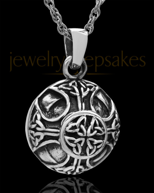 Cremains Pendant Sterling Silver Irish Round Keepsake