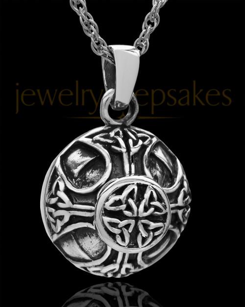 Cremains Pendant Sterling Silver Irish Round Keepsake