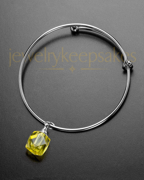 Sophisticate Yellow Cubes Cremation Bracelet