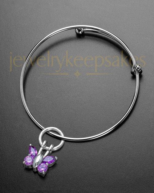 Sophisticate Dancing Lavender Butterfly Cremation Bracelet