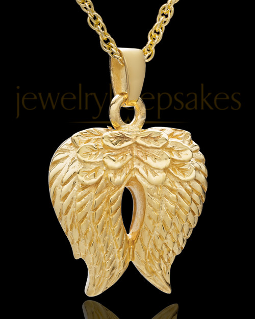 Urn Pendant Gold Plated Angel Wings Keepsake