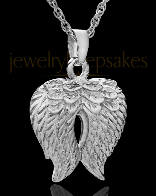 Urn Pendant 14k White Gold Angel Wings Keepsake