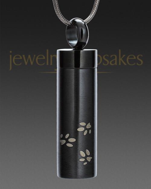 Black Follow Me Cylinder Urn Jewelry