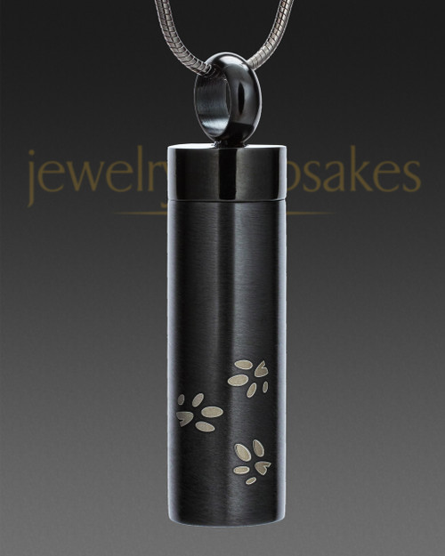 Black Follow Me Cylinder Urn Jewelry