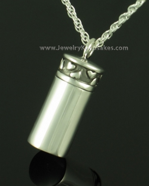 Locket Necklace Sterling Silver Love Cylinder Keepsake