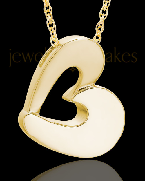 Urn Jewelry Gold Plated Chic Heart Keepsake