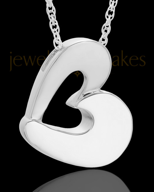 Urn Jewelry 14k White Gold Chic Heart Keepsake