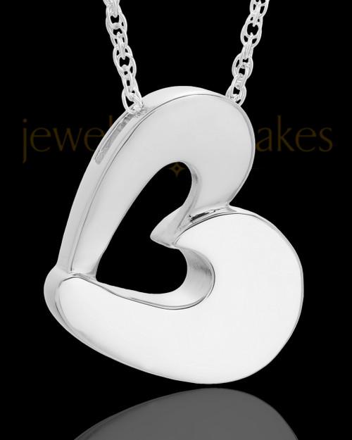 Urn Jewelry 14k White Gold Chic Heart Keepsake
