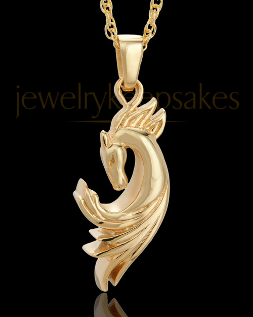 Necklace Urn Gold Plated Wild Horse Keepsake