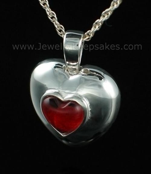 Keepsake Pendant Sterling Silver July Heart