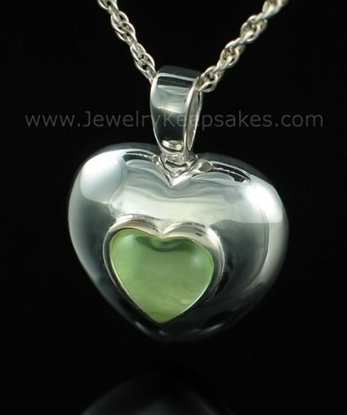 Keepsake Pendant Sterling Silver August Heart