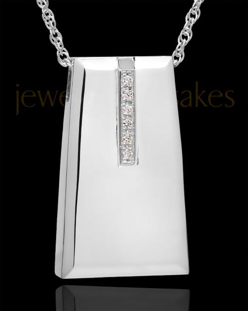 Cremation Locket Sterling Silver Shimmer Rectangle