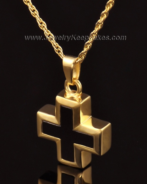 Cremation Necklace Jewelry 14k Gold Mystic Cross Keepsake