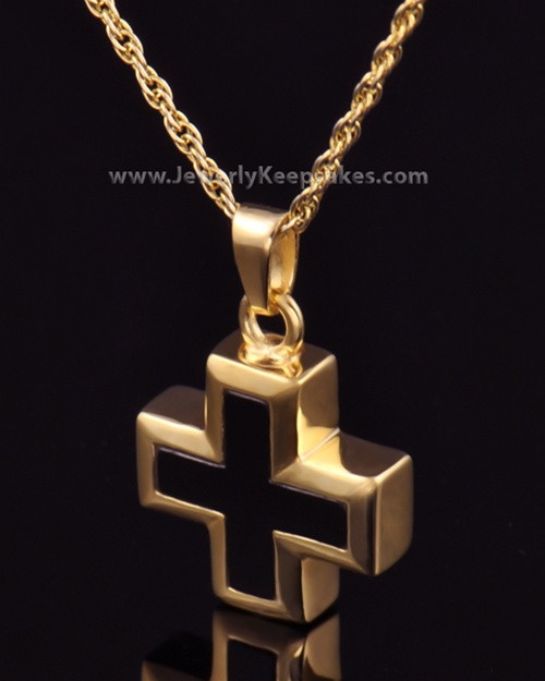 Cremation Necklace Jewelry Gold Plated Mystic Cross Keepsake