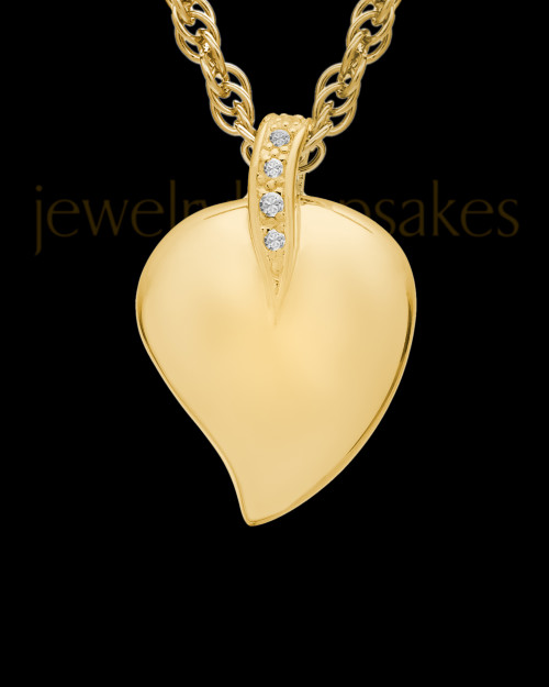 Cremation Pendant 14K Gold Elliptical Heart Keepsake