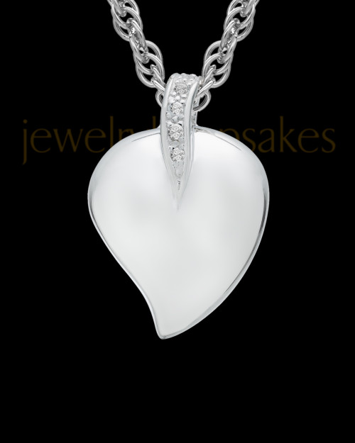 Cremation Pendant Sterling Silver Elliptical Heart Keepsake