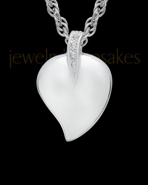 Cremation Pendant 14K White Gold Elliptical Heart Keepsake