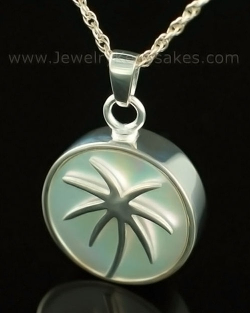 Memorial Locket 14K White Gold Tropical Keepsake