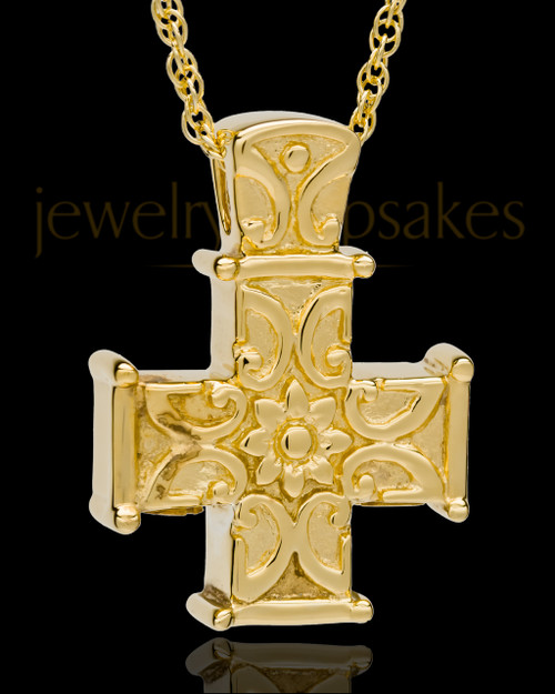 Cremation Locket Gold Plated Elegant Companion Cross Keepsake