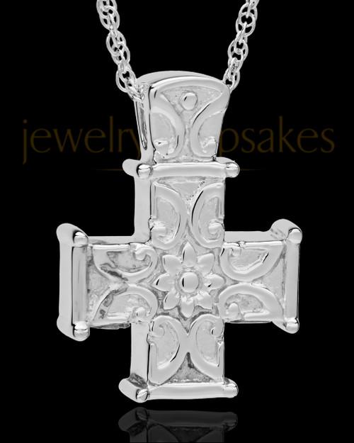 Cremation Locket Sterling Silver Companion Elegant Cross Keepsake